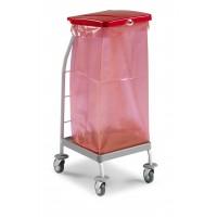 Rilsano vežimėlis šiukšlių maišui su pedalu, TTS, 482x392x950 mm, 70 l, pilkas, raudonas