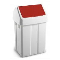 Šiukšlių dėžė MAX, 200x230x400 mm, 12 l, balta, raudona, TTS