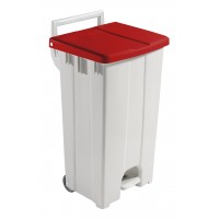 Šiukšlių konteineris Derby, TTS, 480x520x930 mm, 90 l, baltas, raudonas