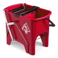 Dvigubas kibirėlis valytojai Squizzy, TTS, 15 l, 460x320x360 mm, raudonas