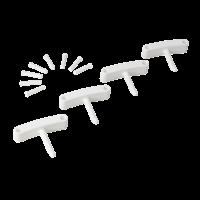 Kabliukai sieniniam laikikliui, 4 vnt., 140 mm, baltas, Vikan